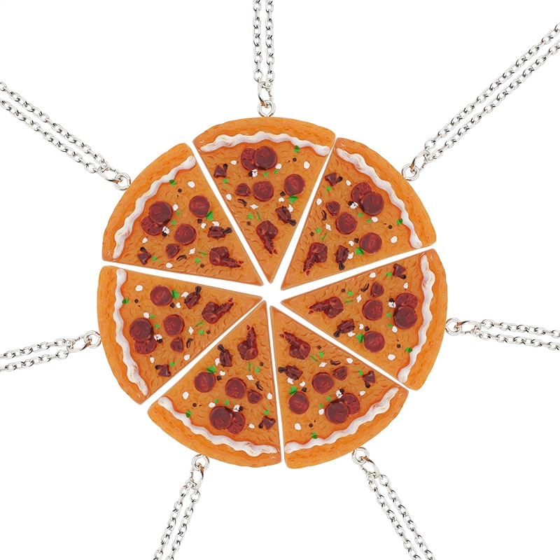Conjunto de colar com pingente de amizade, mais novo colar de produtos quentes, amigos, pizza, amantes, legal, atmosfera