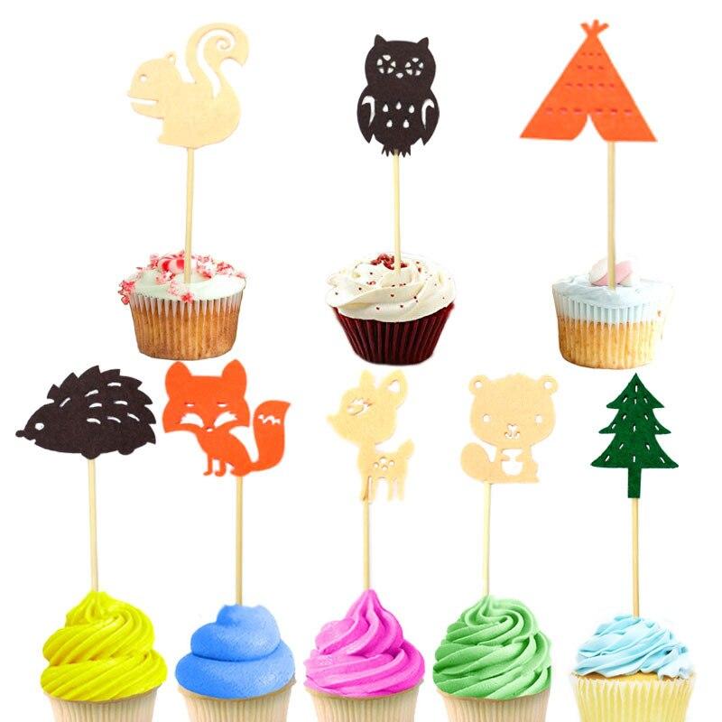 24 Uds. Adornos para Magdalenas con motivos de bosque para Baby Shower bonitos animales zorro ardillas búho selecciones de pastel para fiesta de cumpleaños de niños