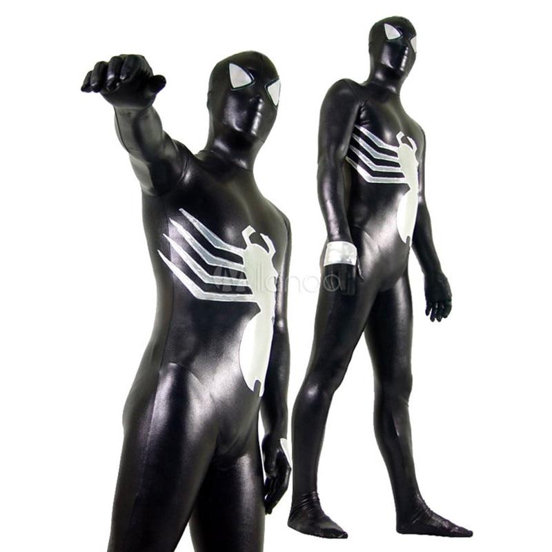 De alta calidad de adultos/niños Mens Halloween negro disfraces de Spiderman veneno de araña brillante metálico Zentai traje de superhéroe
