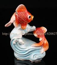 Statues de poisson à collectionner décoration bibelot boîte poissons boîte à bijoux en étain émail décor océan Animal bijoux porte-anneau