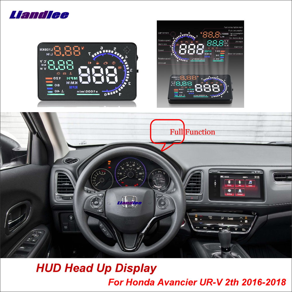 Liandlee Auto Head Up Display HUD Für Honda Avancier UR-V 2th 2016-2018 HD Projektor Screen OBD II Überdrehzahl alarm Alarm Detektor
