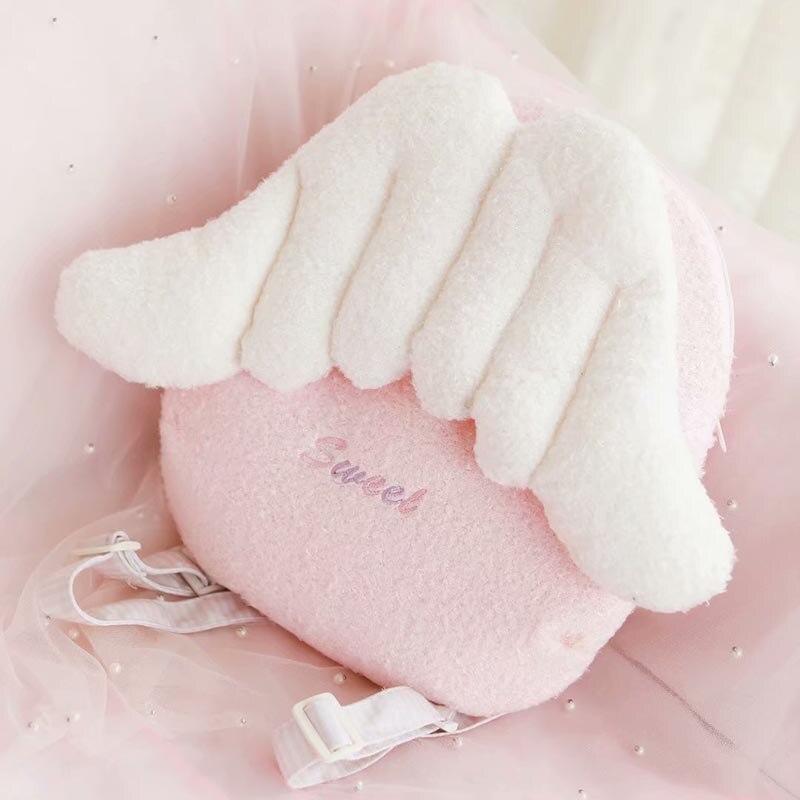 Rosa asas de anjo de pelúcia mochilas kawaii designer-olhar crossbody saco com asas mochila crianças escola bolsa de ombro mulher meninas
