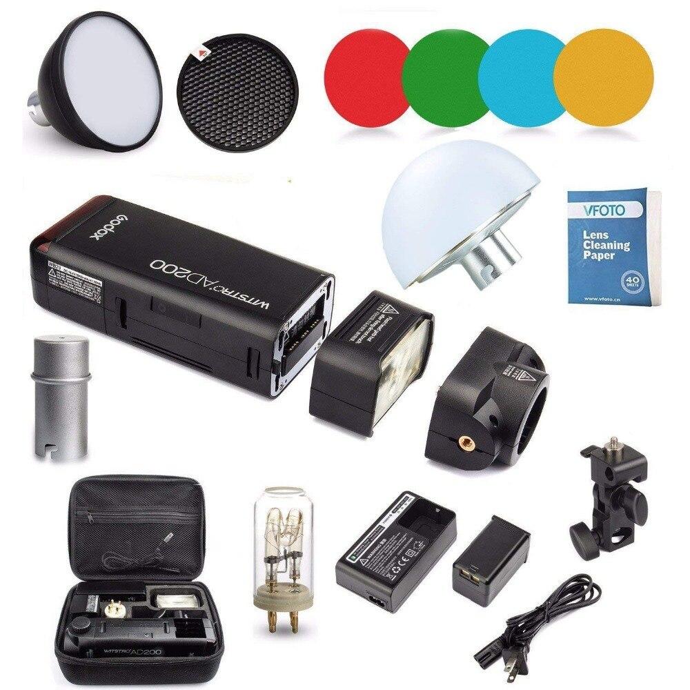Godox AD200 Kit 200Ws 2.4G TTL Pocket Flash Strobe 1/8000 HSS Cordless Monolight 2900mAh Lithimu Battery and Bare Bulb  CD50Y