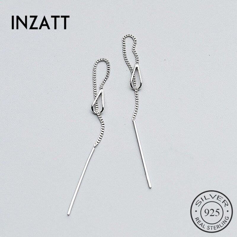 Женские Висячие серьги INZATT, серьги-подвески из стерлингового серебра 925 пробы с длинной цепочкой-кисточкой 6,3 см, свадебный подарок