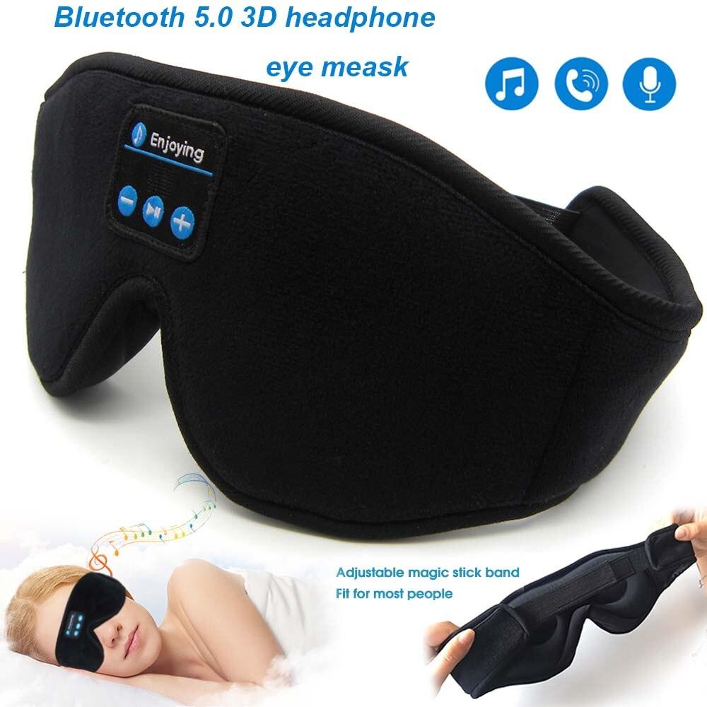 JINSERTA auriculares estéreo inalámbricos Bluetooth 5,0, 3D Diadema con máscara para dormir, auriculares suaves para dormir, mascarilla para dormir, auriculares de música