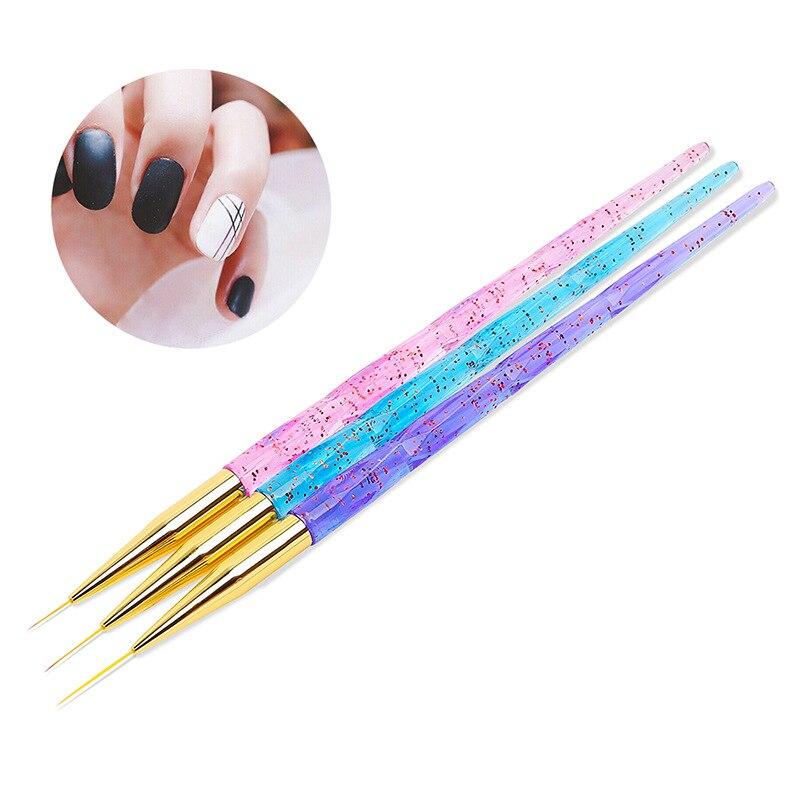 3 pçs prego arte forro escova pintura flor linhas de desenho grade listra manicure acrílico uv gel caneta diy dicas design conjunto