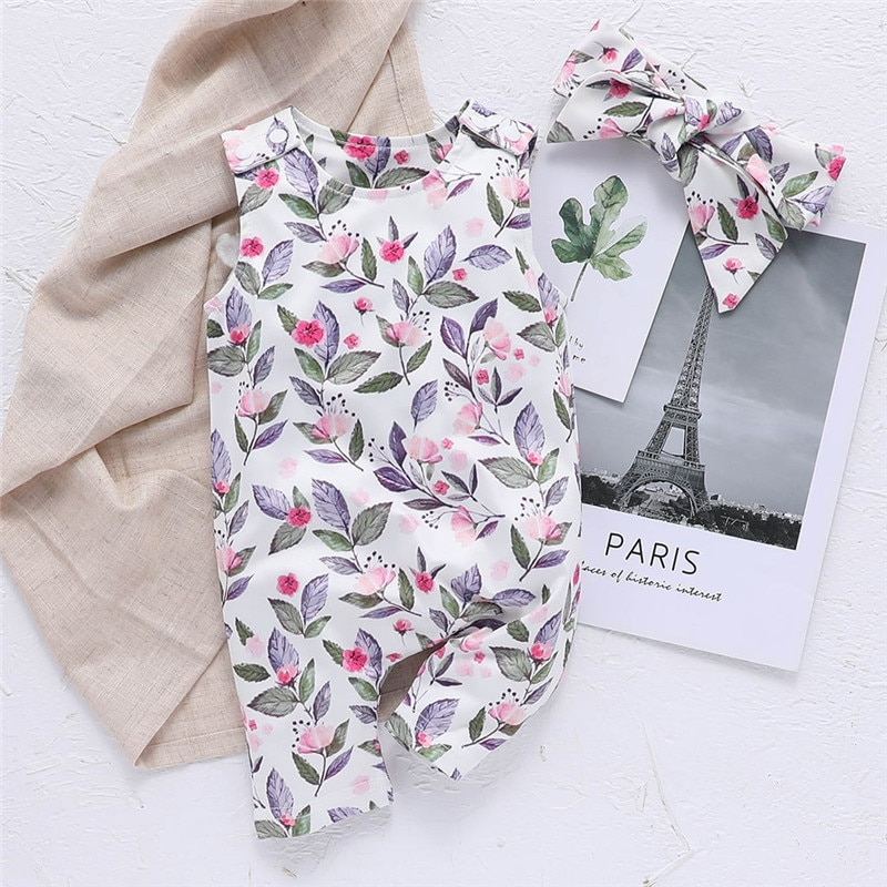 2PCS Baby Romper+Headband Baby Girls Romper Newborn Summer Kids Fashion Clothes Floral Toddler Outfi