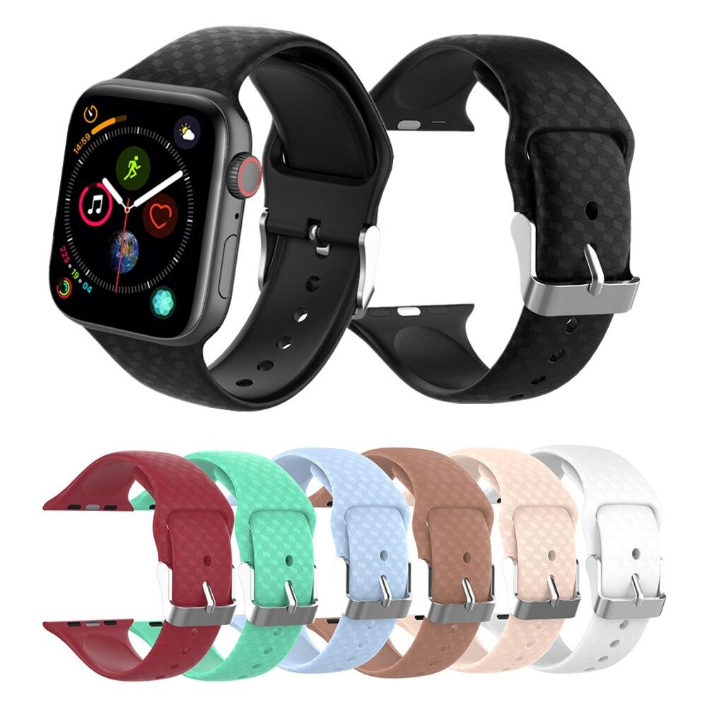 Pour Applewatch bande Silicone Bracelet pour Apple Watch série 3/2/1 44mm 40mm 42mm 38mm sport Bracelet de montre pour iWatch 4 Bracelet