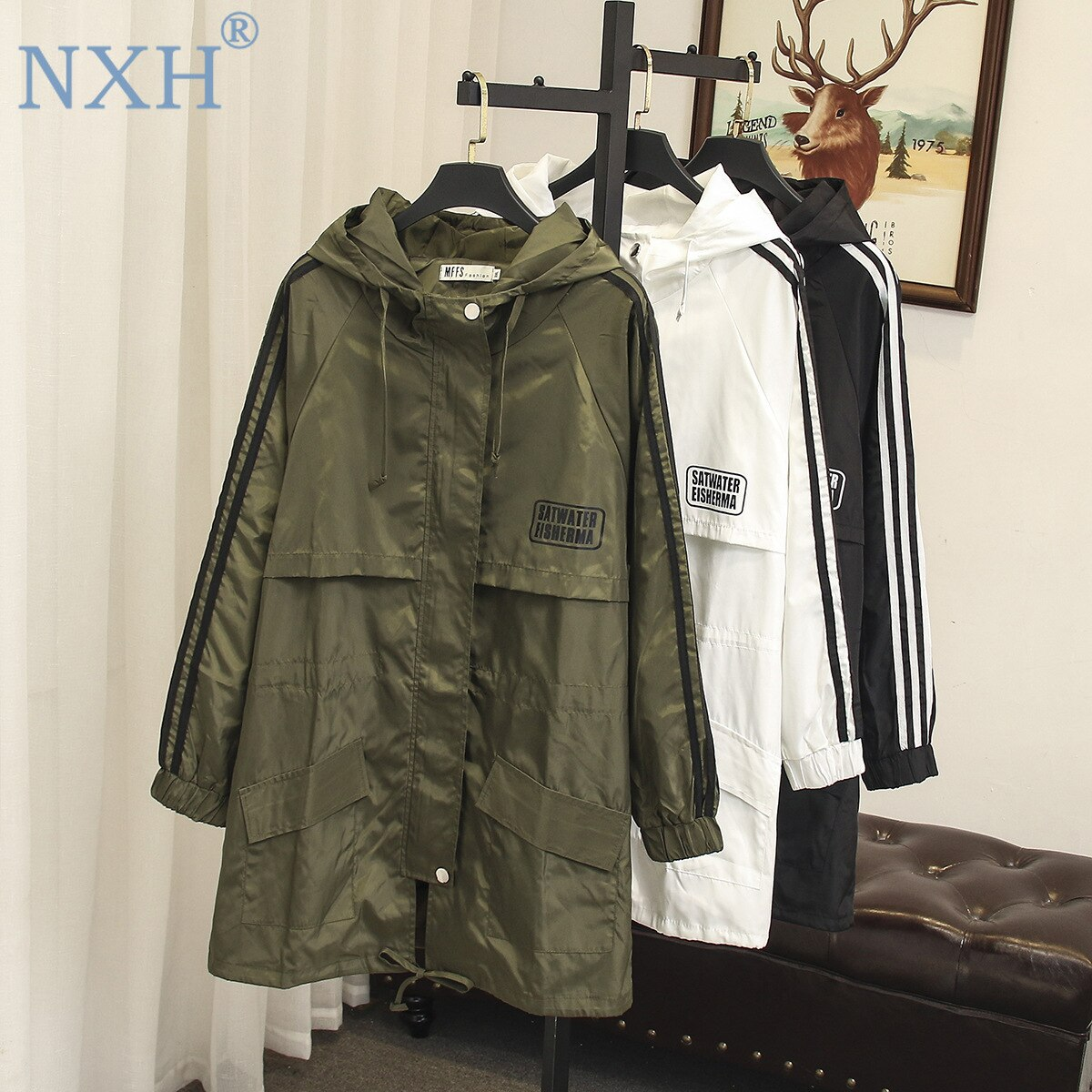 large size trench women female windbreaker hooded cape woman clothes long trench coat loose plus siz