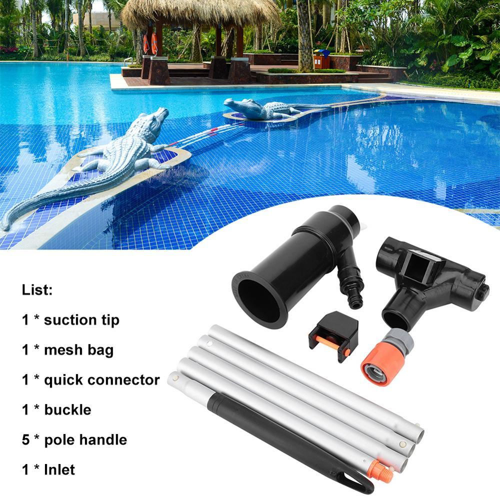 Herramienta de aspiradora de piscina con 5 secciones de poste accesorios de succión de aspiradora de limpieza portátil para piscina al aire libre