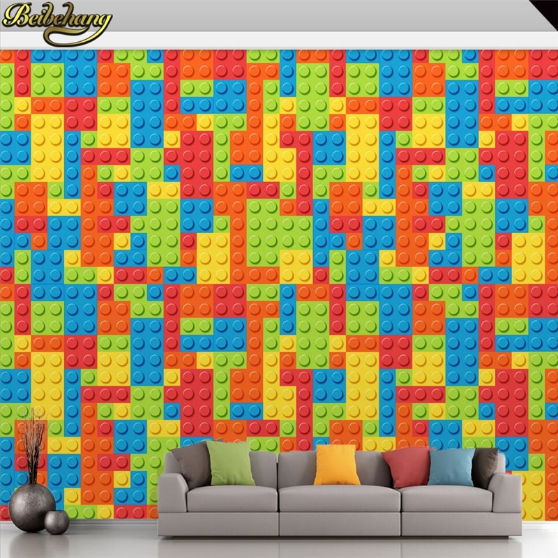Beibehang personalizado foto papel de parede para sala de estar 3d lego tijolos crianças quarto brinquedo do quarto do bebê foto mural parede piso