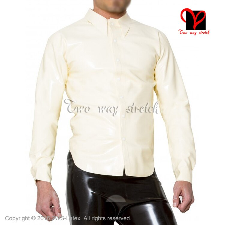 Sexy White Latex shirt Rubber blouse with Long sleeve Top button at front  plus size XXL SY-073