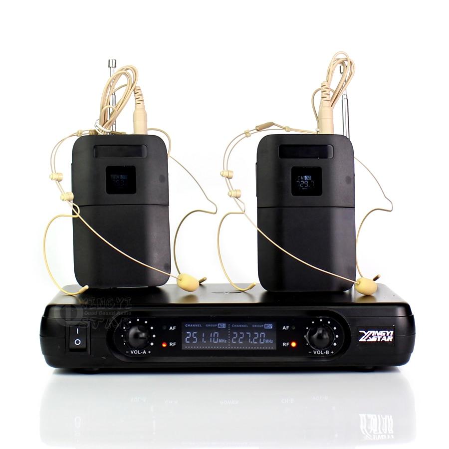 المهنية VHF ميكروفون لاسلكي سماعة اللاسلكي Mic مايك 2 قنوات LCD استقبال BLX1 Beltpack الارسال كاريوكي نظام