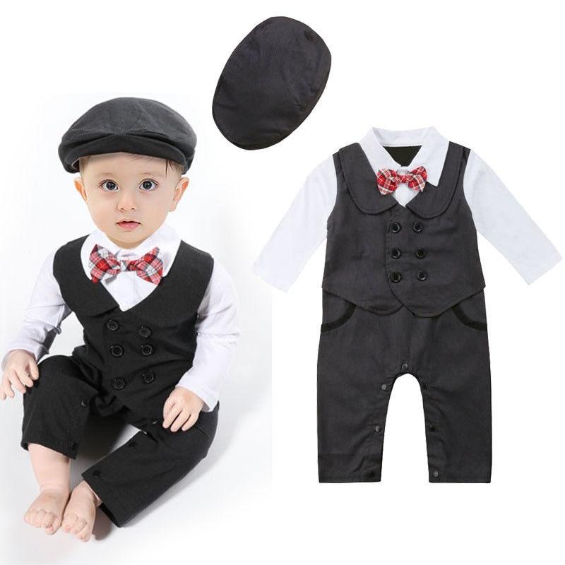 Newborn Baby Boys Gentleman Formal Suit Romper With Tie Jumpsuit Tuxedo Hat Outfit Clothes Weddings parties Blazer Suits for Boy