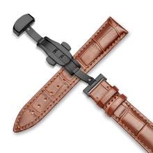 Correa de reloj de piel auténtica 16mm 18mm 19mm 20mm 21mm 22mm 24mm correa de reloj de grano de cocodrilo para Tissot Seiko