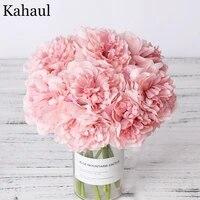 Bouquet de pivoines artificielles en soie pour decoration ou bouquet  fausses fleurs  pour la maison  le salon ou mariee  imitation de haute qualite