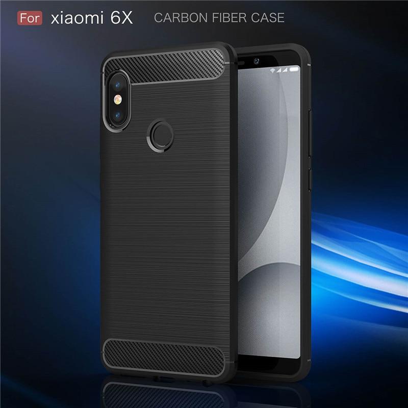 Fundas de teléfono móvil de fibra de carbono cepillado para Xiaomi Max 2 5X funda trasera de goma de silicona TPU suave para Xiaomi 6 6X 5S bolsas Coque