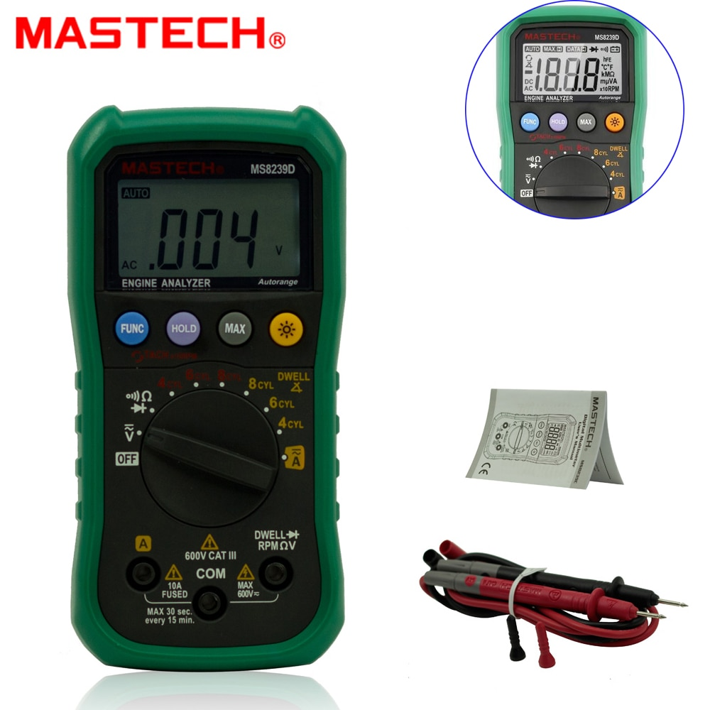 Mastech MS8239D Digital Automotive Multimeter Engine Analyzer Hanhold Tester & Built-in motor analyzer backlight