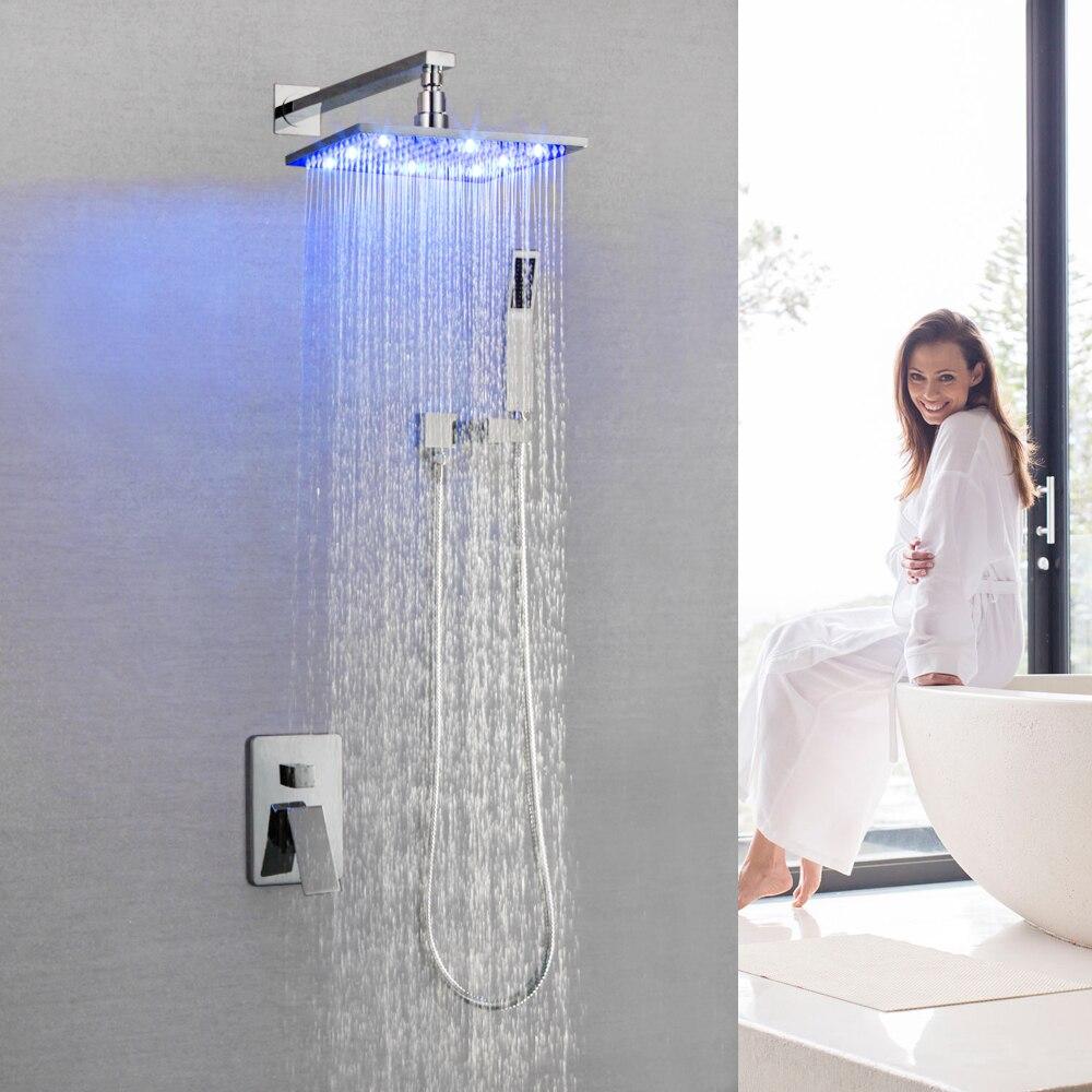 Bathtub Rainfall Shower Light System Polished Chrome Bath LED Shower Faucet Bathroom Luxury SK-7616