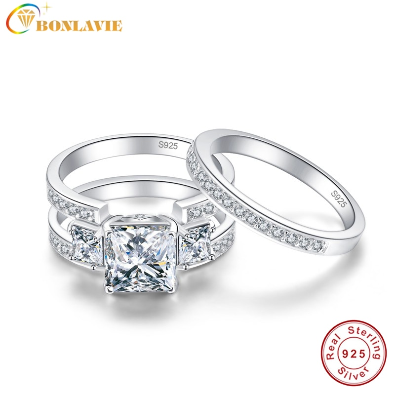 BONLAVIE 2PCS Female Luxury Jewelry Engagement Ring 3Ct White Topaz 925 Sterling Silver Wedding Band Ring Set for women