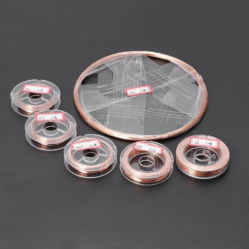 1 rollo 10 metros Dia.0.2/0,3/0,4/0,5/0,6/0,8mm T2 cobre Línea alámbrica materiales DIY