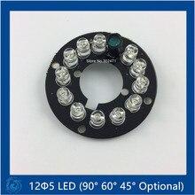 Лампа 90 градусов, инфракрасная 12x5 IR LED плата для купольные камеры для видеонаблюдения ночного видения, (Большой F17-F44mm)