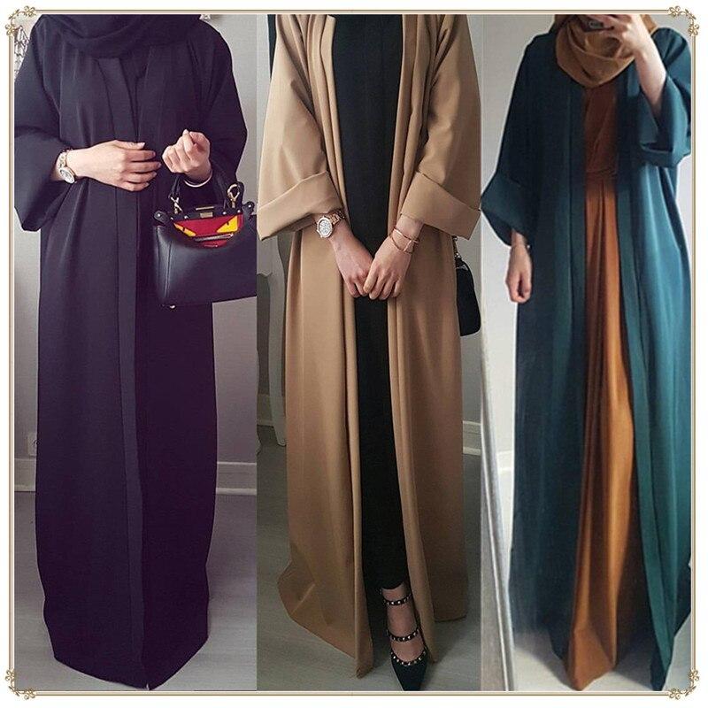 Abaya dubai ramadan frente aberta muçulmano vestido abayas para mulher baju muçulmano wanita