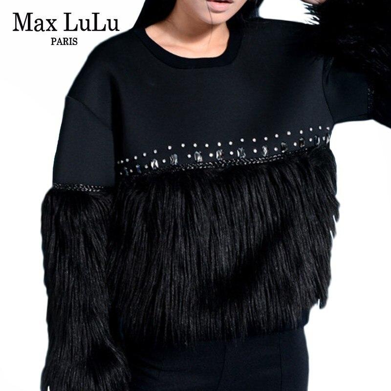 Max lulu moda estilo coreano senhoras outono pele streetwear das mulheres diamantes retalhos hoodies agasalho do vintage camisolas quentes