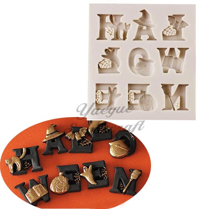 Yueyue Sugarcraft Хэллоуин огромная силиконовая форма для помадки инструменты украшения