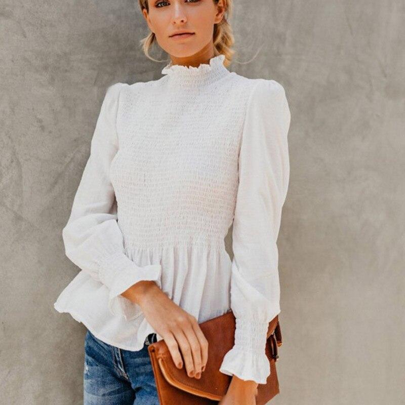 2019 elegante linterna soporte manga cuello blusa de las mujeres de peplum plisado blusa camisa de otoño e invierno las mujeres Camisas Blusas