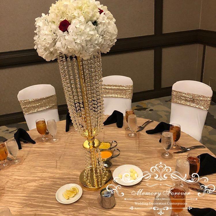 10 unids/lote de candelabros decorativos de cristal para decoración de bodas, soporte acrílico para flores para mesa de boda