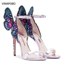 Sapatos de casamento mulher bordada borboleta anjo asas sandálias dedo do pé aberto tornozelo cinta salto alto gladiador stilettos festa sapatos