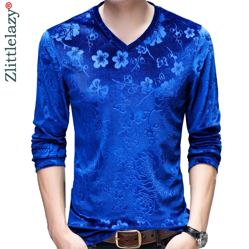 2019 marca casual de manga larga Camiseta streetwear slim fit mens camisetas de moda de color brillante Camiseta de flores hombres camiseta jersey