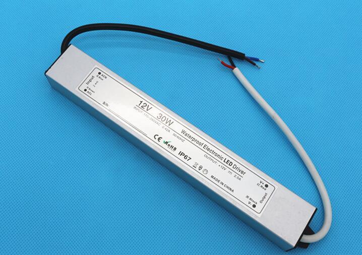 Envío Gratis, el mejor precio, controlador LED electrónico impermeable, 30 W, interruptor de fuente de alimentación led, tira de luz LED impermeable, controlador ac/dc