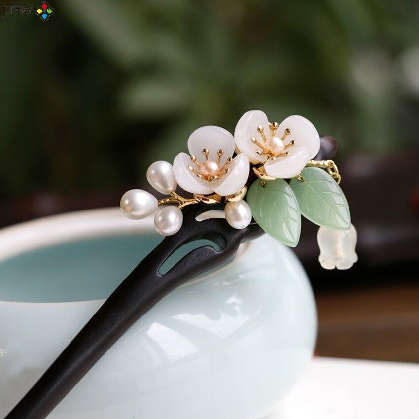Pérola de água doce ebony blossom vara de cabelo de madeira varas de cabelo feminino chinês hairpin acessórios para o cabelo pince cheveux femme wigo1358