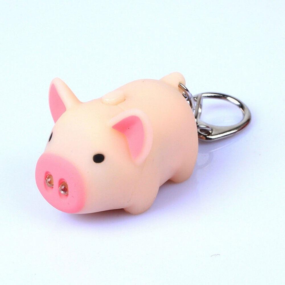 1 Pc High Quality cute pig led keychains flashlight sound rings Creative kids toys pig cartoon sound light keychains child gift