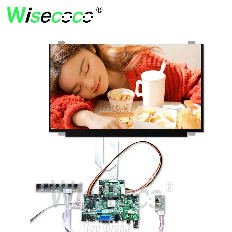 Wisecoco LCD de 15,6 pulgadas IPS 1920*1080 FHD antiglare display con VGA HDMI coche rboard para pc portátil Pantalla de portátil