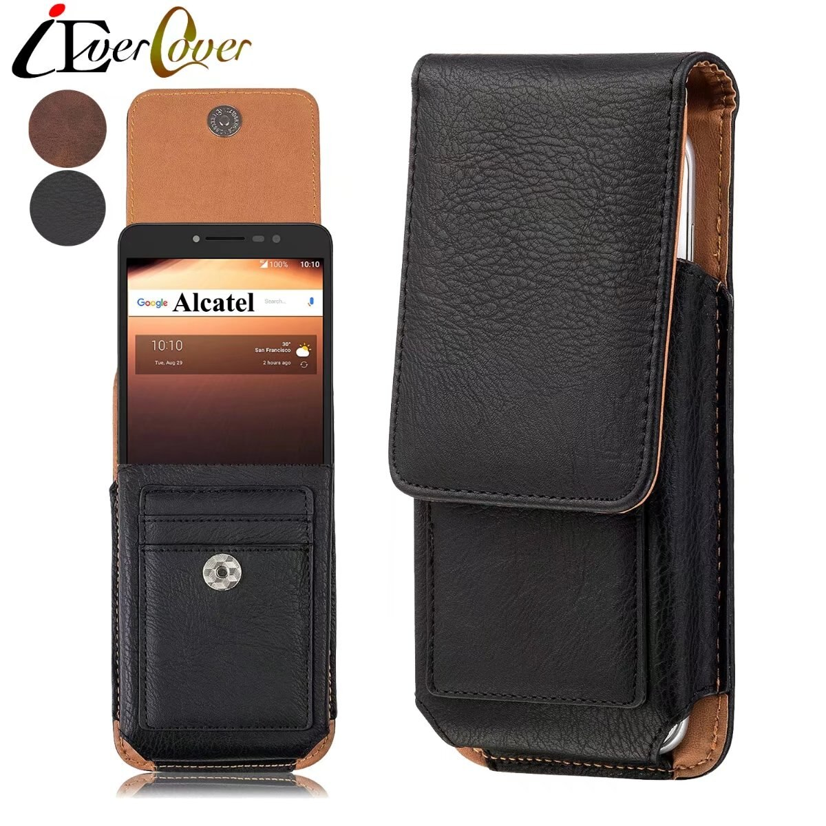 Premium Vertical Leather Case Holster Cover w/ Swivel Belt Clip for Alcatel A3 XL , Pixi Theatre , Pixi 4(6inch) 4G Phone Pouch