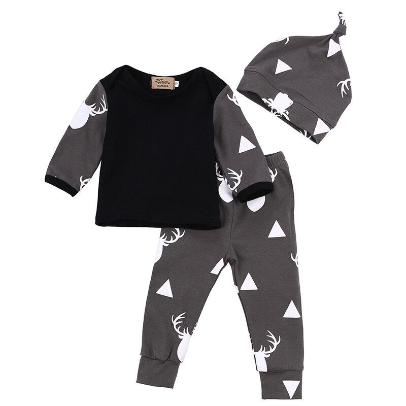 Newborn Baby Boy Girl Clothes Deer Print Cotton T-shirt Tops Long Pant Hat 3PCS Outfits Autumn Baby Clothing Set