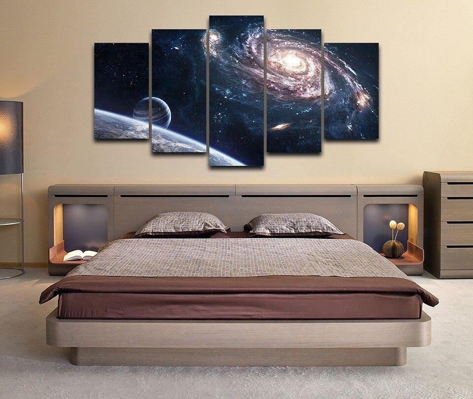 Модульная картина для гостиной, спальни, 5 шт., HD печать, космическое пространство, для декора стен