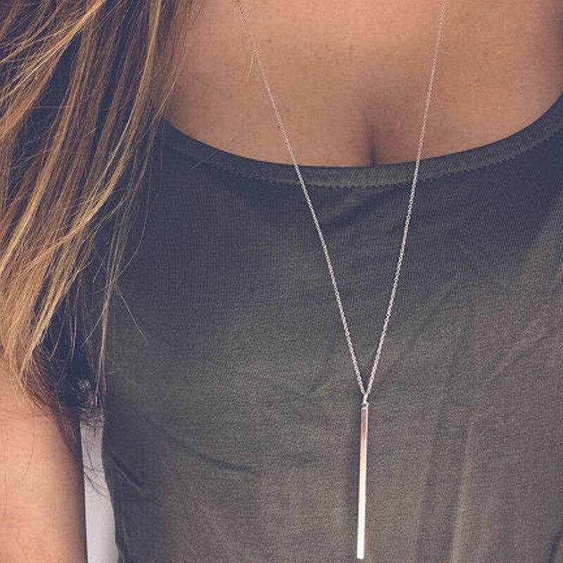 ¡Novedad! Gargantilla de cadena Simple a la moda, collar de lazo, dijes de barra, collares y colgantes para mujer, gargantillas de regalo
