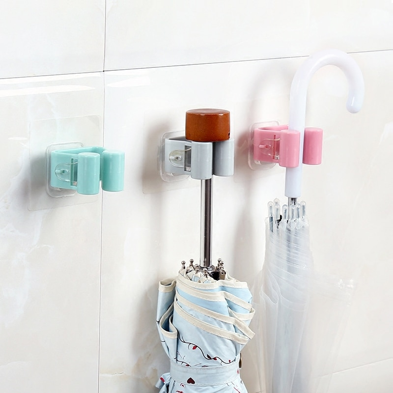 Punch-free Mop Frame Brush Hook Creative Seamless Bathroom Umbrella Stick Hook Rack Broom Shelf Bathroom Storage Supplies