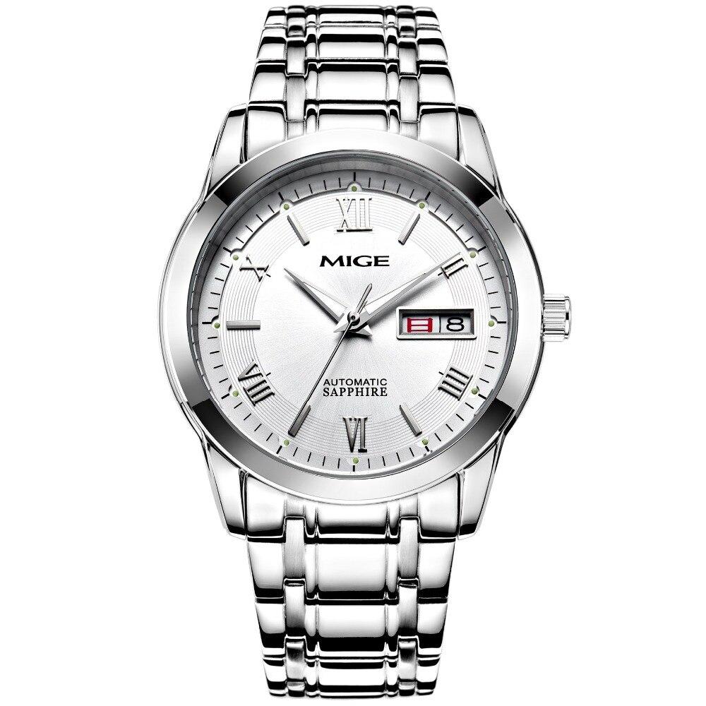 2018 Nova Apressado Real Mans Relógios Relogio masculino Pulseira de Aço Branco Watchface Preto Automático Homem de Pulso À Prova D Água