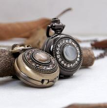 12 stks/partij Vintage Strass Cat Eye Steen Spiegel Horloge Ketting OPL152 Dia 2.7 cm