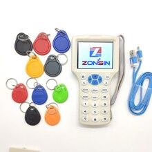 Ingilizce 10 Frekans RFID Kart Okuma Yazar RFID Fotokopi Programcı Cloner 5 Adet 125 khz Keyfobs + 5 Adet 13.56 mhz UID Keyfobs