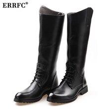 ERRFC Fashion Designer Black Long Knee Boots Men Round Toe Riding Boot Cowboy PU leather Motorcycle Boot Man Size 38-45