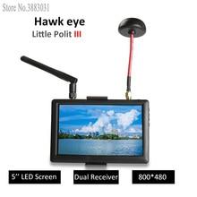 هوك القليل الطيار الثالث FPV مراقب 5 بوصة شاشة led جهاز عرض 5.8G جهاز استقبال صوت وفيديو لاسلكي 800*480 قرار ل RC نموذج