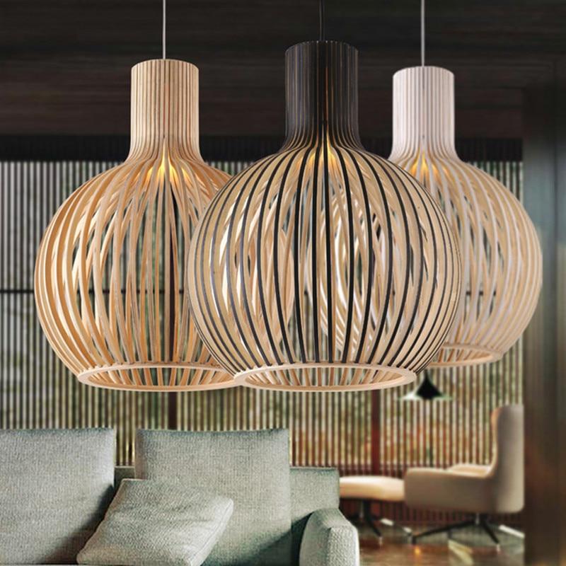 Modern Black Wood Birdcage E27 bulb Chandelier lighting norbic home deco bamboo weaving wooden lamps