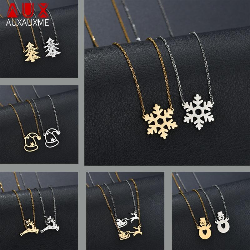 Auxauxme, la mejor joyería de Navidad, suéter con copo de nieve de acero inoxidable dorado, Collar, joyas de cuello, regalo de Año Nuevo 2019, bisutería femenina