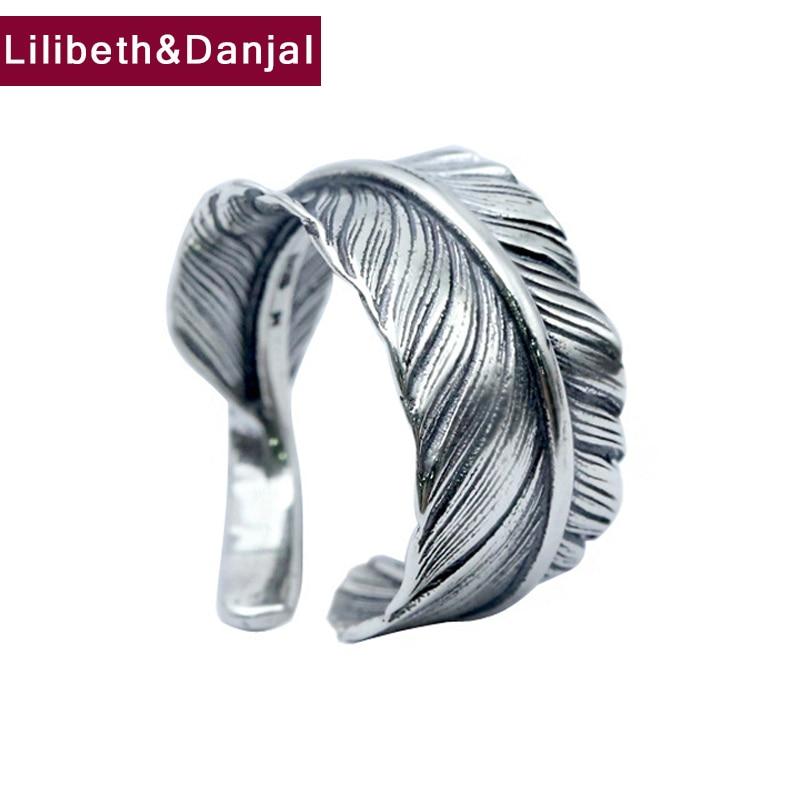 Anel masculino 100% real 925 prata esterlina pena marca casal anel feminino jóias tailândia prata estilo vintage atacado fr30